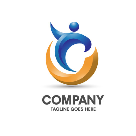 modern and elegant concept health coaching logo vector Çizim