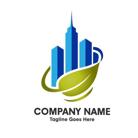 ozone friendly: go green, green city logo Illustration