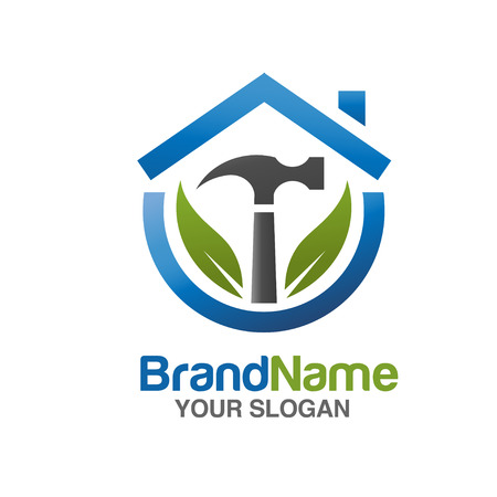 home repair services Vector illustration logo. with hammer and green leaf Vettoriali