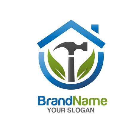 thuis reparatie Vector illustratie logo. met hamer en groen blad Logo