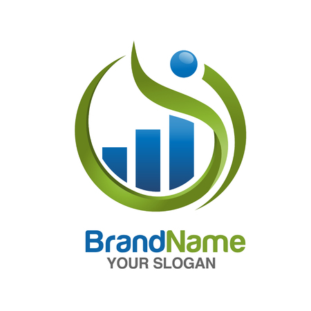 logo informatique: marketing et finance logo Illustration