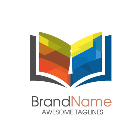 copywriter: colored book vector logo