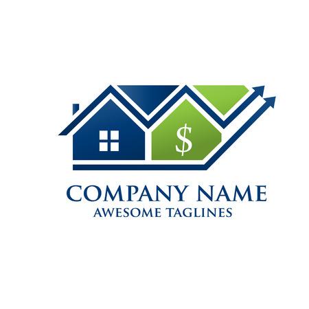 Investissements immobiliers, logo de succès financier