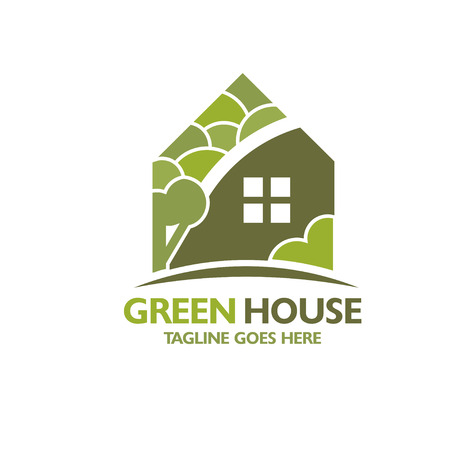 casa verde con el árbol