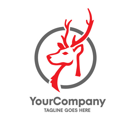 head deer logo with circle vector set design