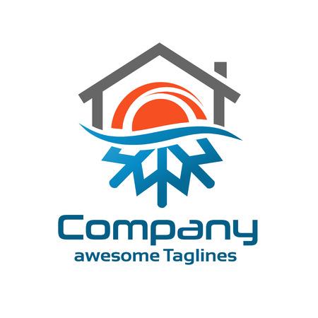 frio: Símbolo caliente y fría con el logotipo de techado