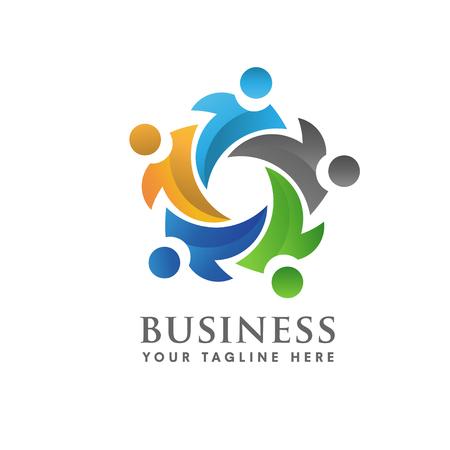 El trabajo en equipo y la comunidad Logo sociales Foto de archivo - 54448742