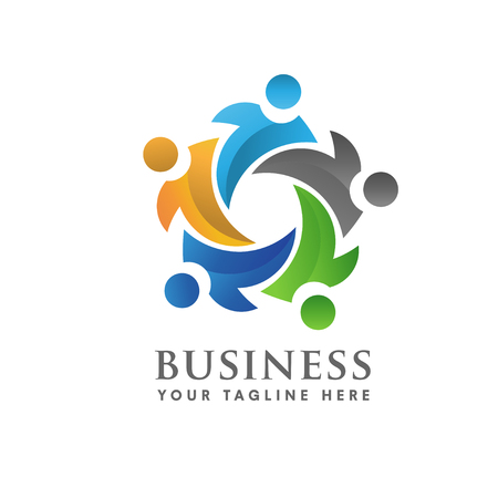 cultural diversity: Teamwork and social community Logo Illustration