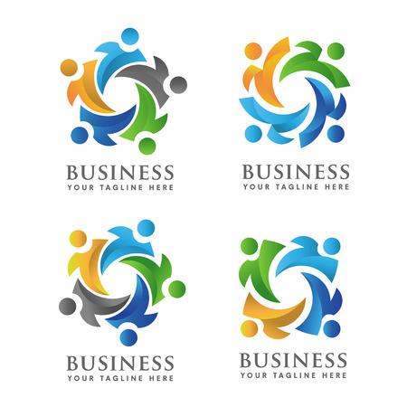 cultural diversity: Teamwork and social community Logo set