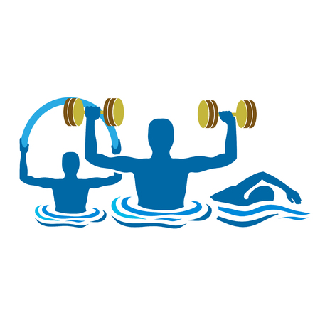 water gymnastics physiotherapy with dumbbells