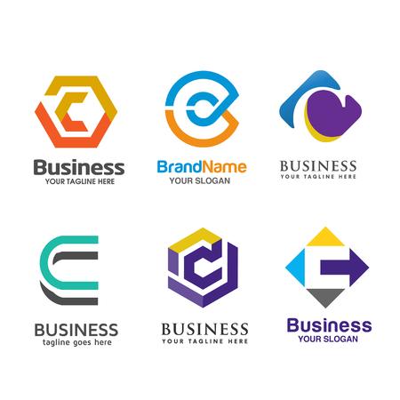 Set of letter C logo icons design template elements Illustration