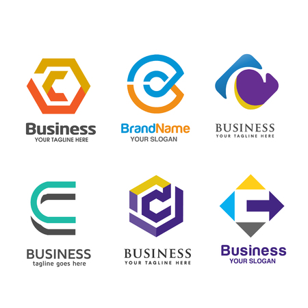 Set of letter C logo icons design template elements Vettoriali