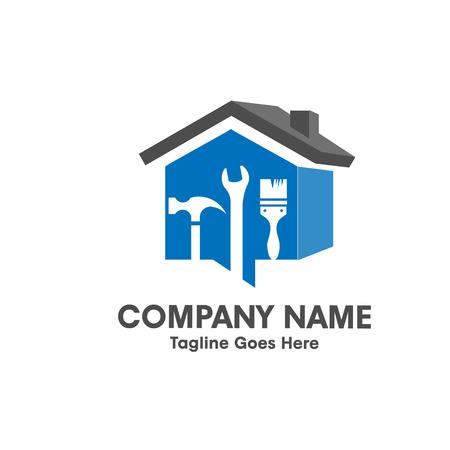 logotipo de construccion: Inicio de reparación emblema con herramienta y símbolo de una insignia de la casa 3d Vectores