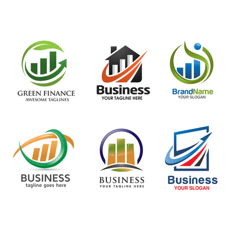 corporate finance: marketing and finance logo set.