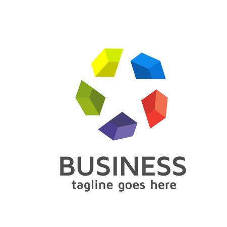 Ster gemaakt van aparte kleurrijke diamant logo template