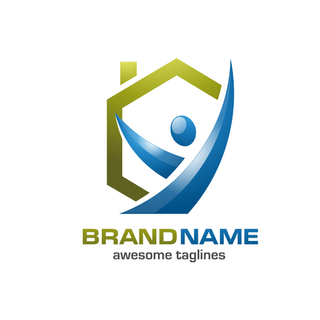 house logo: Colorful imaginative home, house, property with happy figure logo