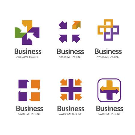 health Cross plus medical share logo set Logo