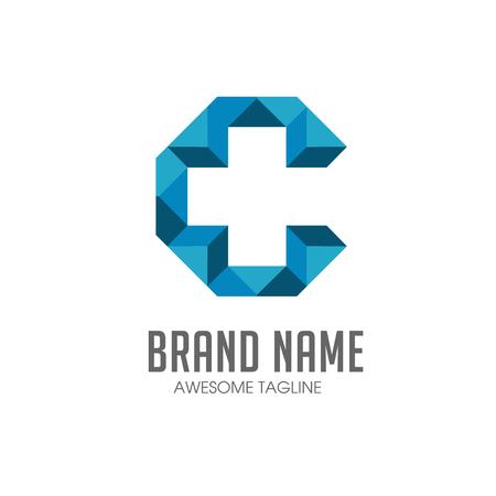 lettre c avec la Croix, plus médicale logo icon