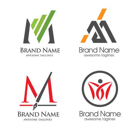 elegant letter M logo 向量圖像
