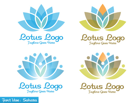 healt: lotus flower icon set