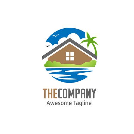 hous vert, villa et lac logo