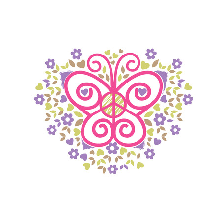 voluntary: butterfly, peace and love vector