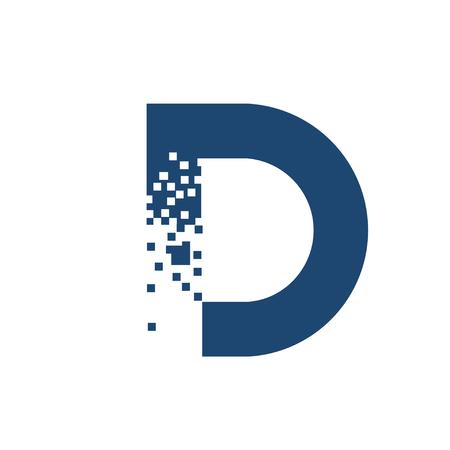 創造的な文字 D ロゴ、文字 D 技術、文字 D コンセプト、デジタル