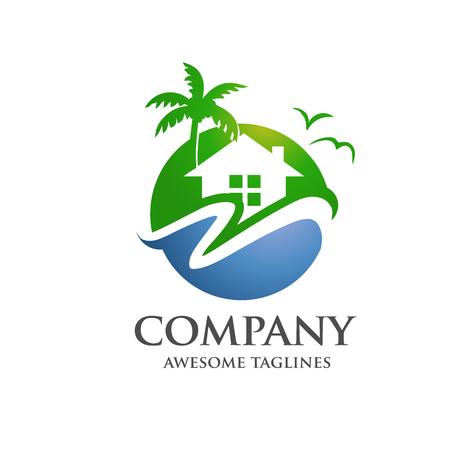 immobilier moderne vert, hôtel, village au logo de la mer Logo