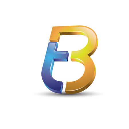 typesetter: Letter TB 3d style logo vector