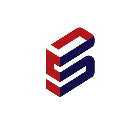 moderna ed elegante lettera S 3d concetto piatto Vettoriali
