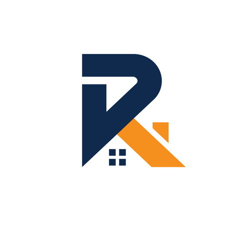 letter R with roofing style. real estate  concept