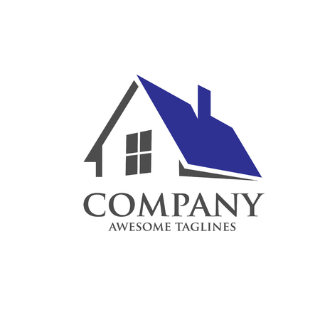 construction firm: elegant strong modern roofing logo concept
