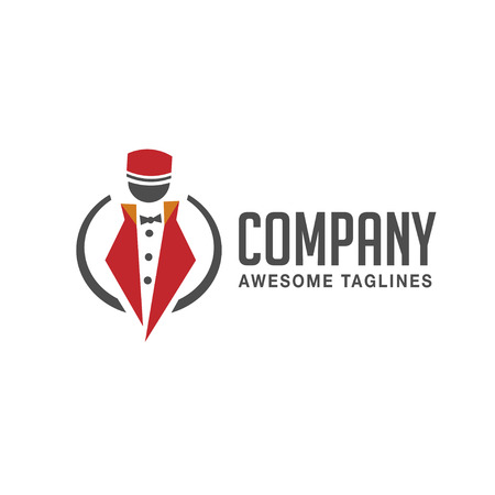 doorkeeper: concierge,doorman, porter, doorkeeper, concierge logo concept