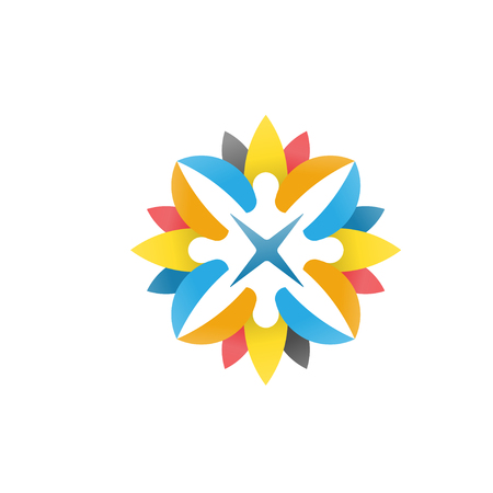 abstract people, happy, flower  vector Illustration
