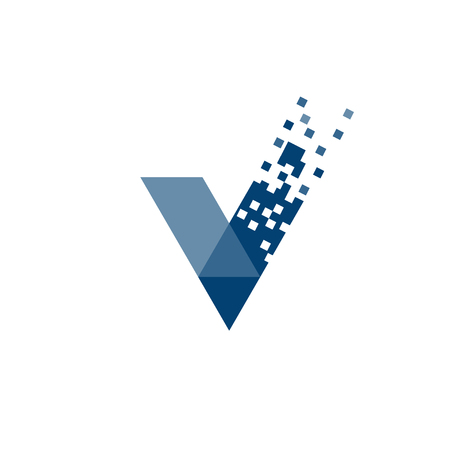letter V data tech logo concept, right logo,v sign 矢量图像