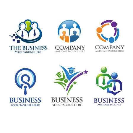 人々 のビジネスとリーダーシップのロゴ  イラスト・ベクター素材