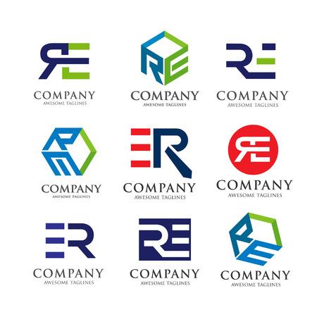 kreatywnych RE litery zestaw logo, innowacyjne litery RE wektora zestawu Logo