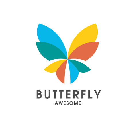 colorful Butterfly abstract sign creative vector logo template.