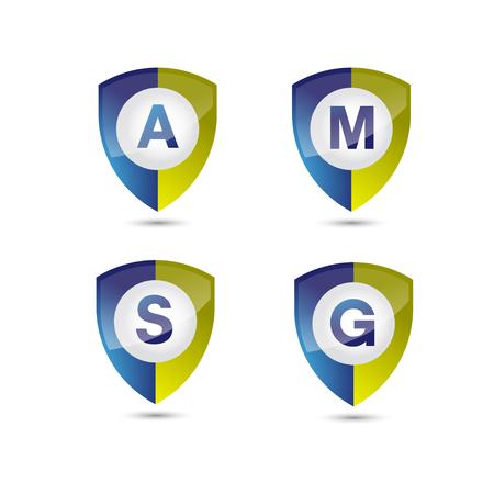 shield with letter inside vector logo concept illustration. Abstract shield logo sign. Design element. Illustration