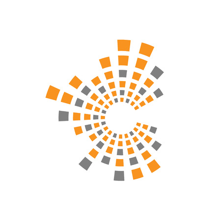letter c technology logo, square line data and technology logo