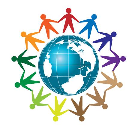 People unity, Colorful people around earth globe 일러스트