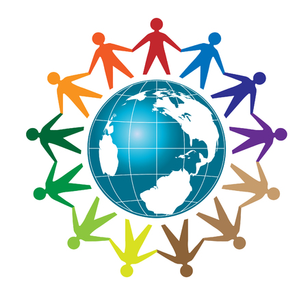 People unity, Colorful people around earth globe Vettoriali