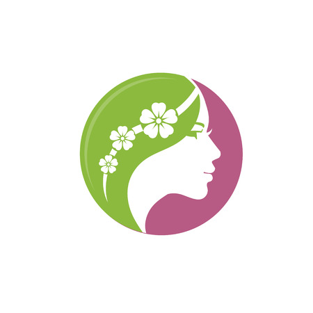 Vector for woman salons and shops. a young beautiful woman Stylized with flower