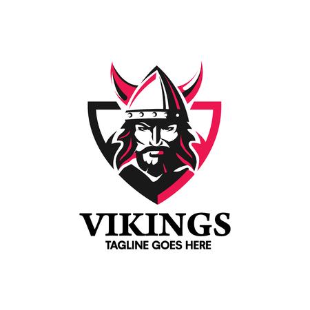 Creativa guerrero vikingo cabeza con un casco con cuernos, un símbolo de fuerza, guerrero de Viking con el diseño del logotipo escudo Foto de archivo - 69245441