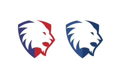 Lion shield creative vector premium logo design template.