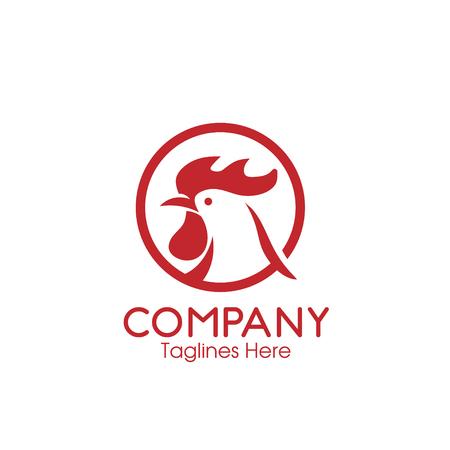 roosters icons. Chicken heads with circle logo vector. Design elements for logo, label, emblem, sign, brand mark. Vector illustration. Ilustração