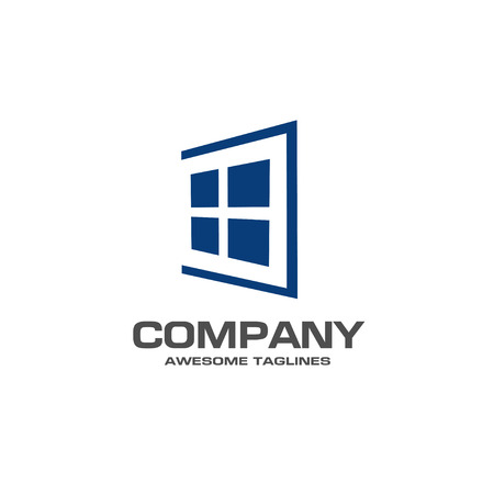 Window logo template vector, abstract windows and glass vector business icon