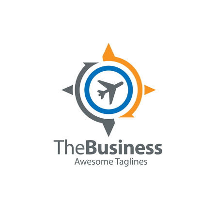 La dirección del viaje, la brújula avión y el concepto de globo, el viaje y el logotipo del mundo de viaje, la brújula plana con el vuelo del avión