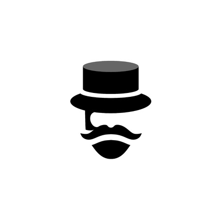 mister: people Retro old mustache vintage style beard gent icons. Barber mister gentleman party black vector silhouette.