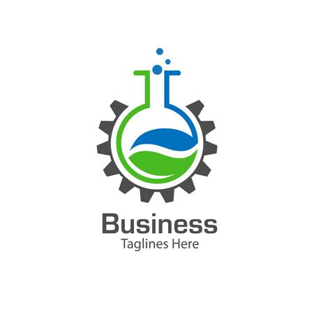 balanza de laboratorio: logotipo de laboratorio con la hoja y el símbolo de engranaje, tubo de ensayo de color con el logotipo de la hoja verde fresca, laboratorio de biología vector logo Vectores